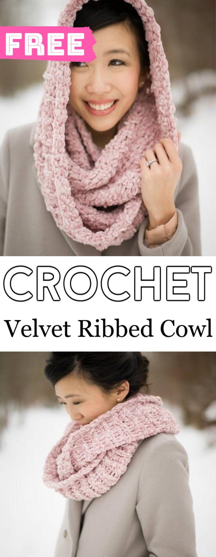 Crochet Velvet Ribbed Cowl Free Pattern