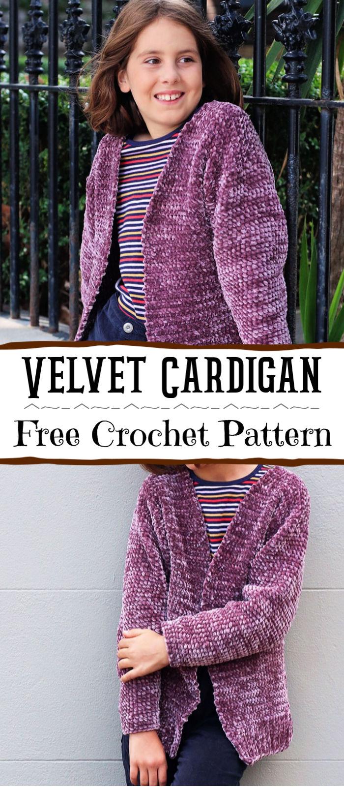 Free Crochet Girl's Velvet Cardigan Pattern