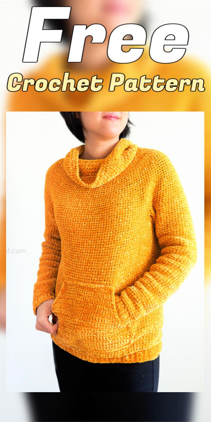 Free Crochet Mysa Velvet Sweatshirt Sweater Pattern