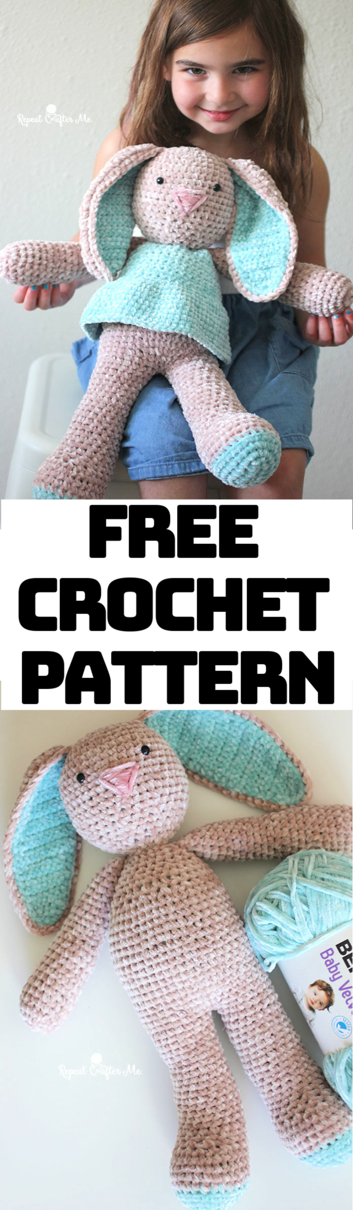 Velvet Bunny Amigurumi Free Crochet Pattern | Crochet bunny ... | 2400x700